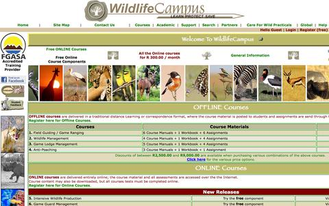 Screenshot of Home Page wildlifecampus.com - WildlifeCampus - Game Ranging, Field Guiding, Game Lodge Management,  Wildlife & Guiding Courses - captured Feb. 23, 2016