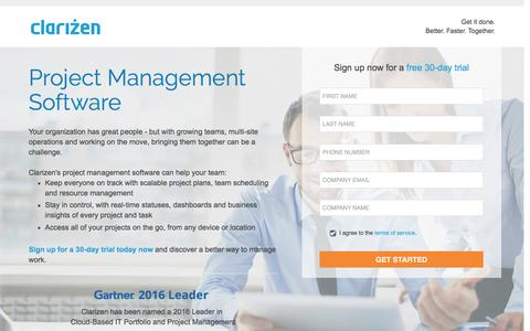Screenshot of Landing Page clarizen.com - Project Management Software l Clarizen - captured July 9, 2016