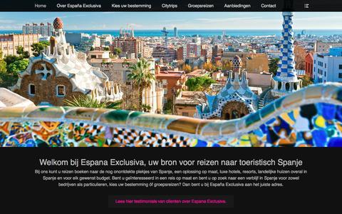 Screenshot of Home Page espana-exclusiva.nl - Espana Exclusiva | voor uw reis naar toeristisch Spanje! - captured April 22, 2016