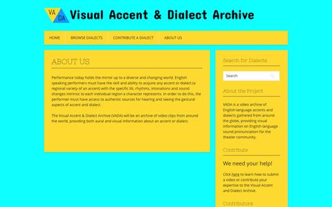 Screenshot of About Page visualaccentdialectarchive.com - About Us - Visual Accent & Dialect Archive - captured April 3, 2017