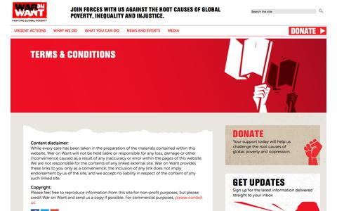 Screenshot of Terms Page waronwant.org - Terms & Conditions | War on Want - captured Sept. 21, 2018
