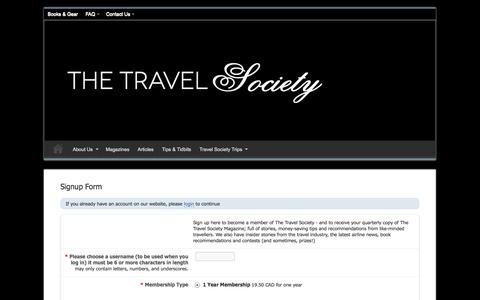 Screenshot of Signup Page thetravelsociety.com - Signup Form | - captured Oct. 6, 2014