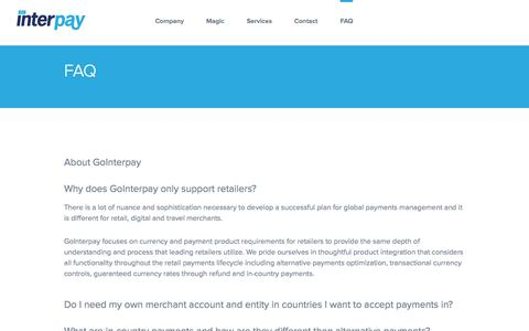 Screenshot of FAQ Page gointerpay.com - GoInterpay   Global Fraud Solutions   Payment Service Provider   PSP - captured Aug. 23, 2017