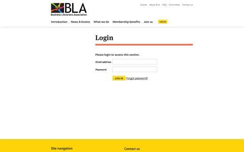 Screenshot of Login Page blalib.org - Users · Business Librarians Association - captured Oct. 5, 2014