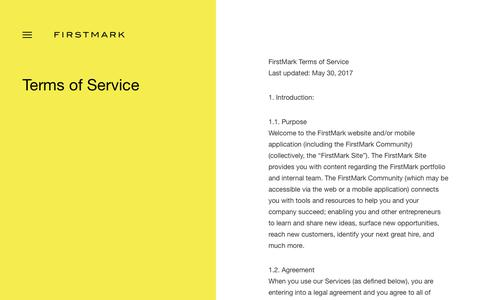 Screenshot of Terms Page firstmarkcap.com - Terms of Service - FirstMark - captured Dec. 20, 2018