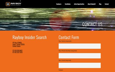 Screenshot of Contact Page rayboyis.com - Rayboy Insider Search |   Contact Us - captured Feb. 13, 2016