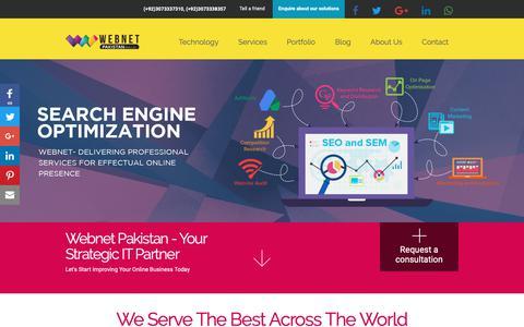Screenshot of Home Page webnet.com.pk - Web Development Company in Pakistan, Affordable Website Design Services - captured Oct. 18, 2018