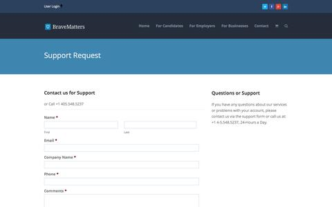 Screenshot of Support Page bravematters.com - Support - BraveMatters - captured Oct. 29, 2014
