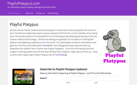 Screenshot of Home Page playfulplatypus.com - The Home of Playful Platypus! - captured Aug. 4, 2015