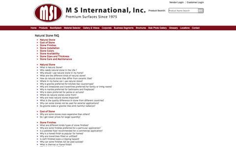 Screenshot of FAQ Page msistone.com - Natural Stone FAQ | M S International, Inc. | Premium Natural Stones - captured Sept. 19, 2014