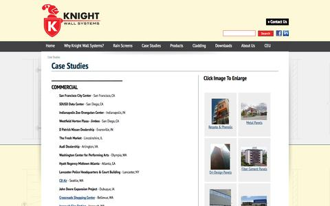 Screenshot of Case Studies Page knightwallsystems.com - Knight Wall Systems - Case Studies - captured Sept. 30, 2014