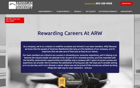 Screenshot of Jobs Page getahomeplan.com - Careers | American Residential Warranty - captured Oct. 3, 2018