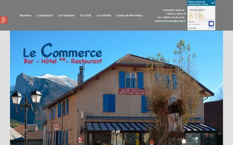 Screenshot of Home Page hotel-commerce-lus.com - Bienvenue à l'Hôtel Le Commerce, à Lus-la-croix-haute, 26620 - captured Oct. 28, 2018