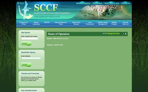 Screenshot of Hours Page sccf.org - Nursery Hours of Operation - captured Oct. 4, 2014