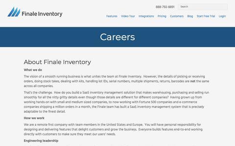 Screenshot of Jobs Page finaleinventory.com - Careers - Finale Inventory - captured June 28, 2018
