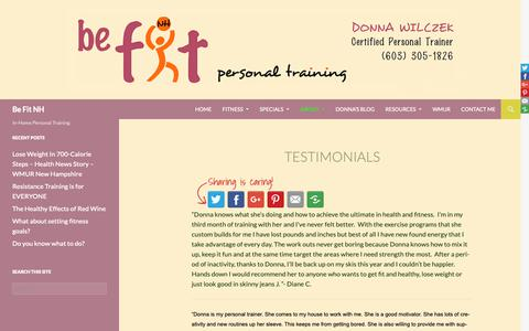 Screenshot of Testimonials Page befitnh.com - Reviews of a personal trainer in manchester, nh | Be Fit NH - captured Nov. 6, 2018