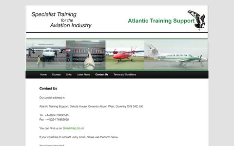 Screenshot of Contact Page atlantictrainingsupport.com - Contact Us | Atlantic Training Support - captured Oct. 4, 2014