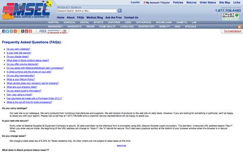 Screenshot of FAQ Page medical-supplies-equipment-company.com - Medical Supplies & Equipment Company - captured Oct. 31, 2014