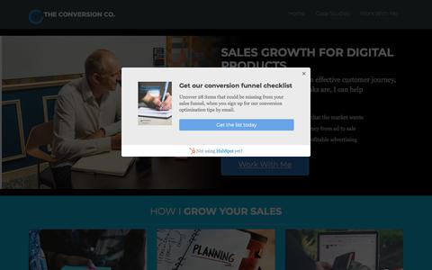 Screenshot of Home Page theconversion.co - The Conversion Co. - Sales Growth For Digital Products - captured July 19, 2019