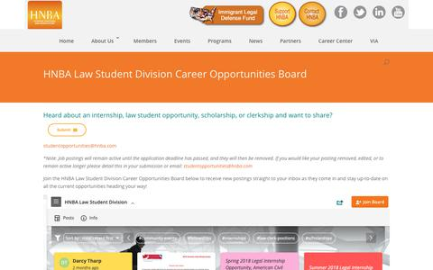 Screenshot of Signup Page hnba.com - HNBA Law Student Division Career Opportunities Board - HNBA - captured Sept. 29, 2018