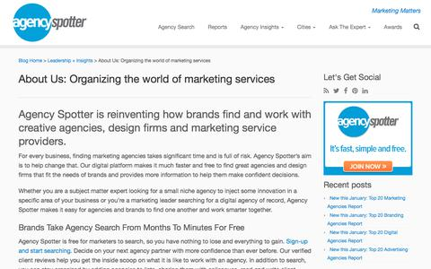 Screenshot of About Page agencyspotter.com - About Us - Agency Spotter - Find Creative Agencies - captured Feb. 19, 2018