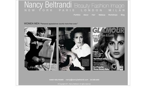 "Screenshot of Home Page nancybeltrandi.com - Nancy Beltrandi - Beauty Fashion Image Workshops, New York, Paris, London, Milan - Women Men ""Personal appearance counts more than ever."" - captured Oct. 7, 2014"