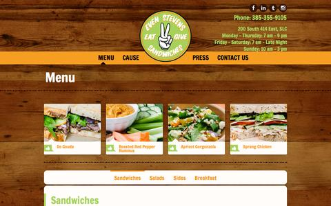 Screenshot of Menu Page evenstevens.com - Menu Even Stevens Sandwiches - captured Sept. 23, 2014