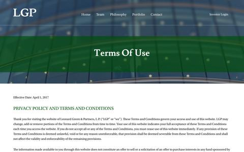 Screenshot of Terms Page leonardgreen.com - Terms of Use     Leonard Green and Partners - captured Sept. 28, 2018