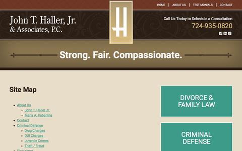 Screenshot of Site Map Page hallerlaw.com - Site Map   John T. Haller, Jr. & Associates   Cranberry Township, Pennsylvania - captured Feb. 11, 2016