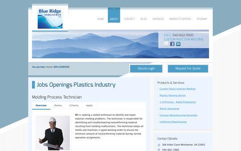 Screenshot of Jobs Page blueridgeind.com - Blue Ridge Industries, Inc | BRI Careers - captured Oct. 6, 2018