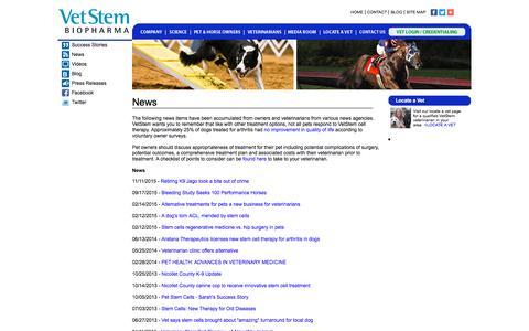 Screenshot of Press Page vet-stem.com - News: VetStem Cell Therapy - captured Dec. 3, 2016