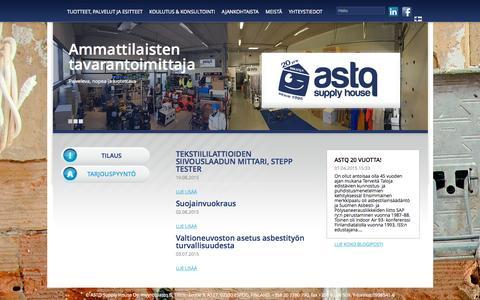 Screenshot of Home Page astq.fi - Tuotteet ja palvelut « ASTQ Supply House - captured Sept. 11, 2015