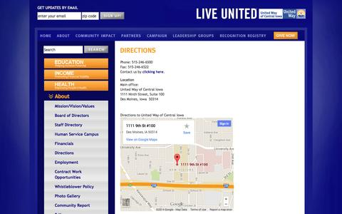 Screenshot of Maps & Directions Page unitedwaydm.org - Directions: United Way of Central Iowa: Des Moines, volunteer, advocate, donation, nonprofit, charity, education, health, income, community action - captured Oct. 7, 2014
