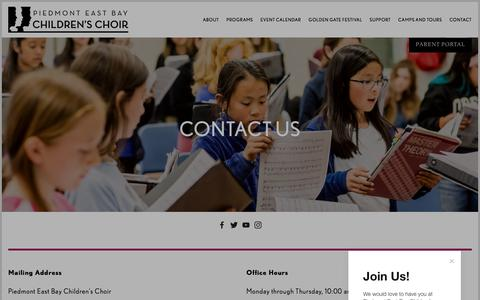 Screenshot of Contact Page piedmontchoirs.org - Contact — Piedmont East Bay Children's Choir - captured Aug. 5, 2019
