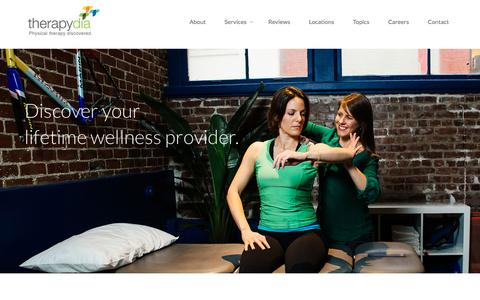 Screenshot of Services Page therapydia.com - Therapydia Physical Therapy and Wellness Services - captured July 13, 2018