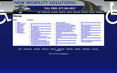 Screenshot of Site Map Page newmobilitysolutions.com - Sitemap - New Mobility Solutions - captured Oct. 26, 2014