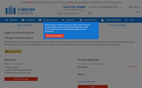 Screenshot of Login Page luggagesuperstore.co.uk - Customer Login - captured July 22, 2018