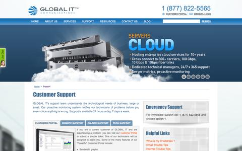Screenshot of Support Page globalit.com - GLOBAL IT techncial support - captured Sept. 27, 2014