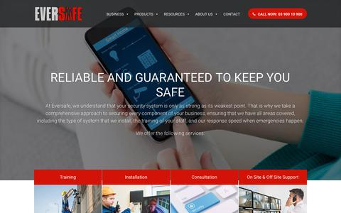 Screenshot of Services Page eversafe.com.au - Services | Training | Installation | Consultation - Eversafe - captured Sept. 29, 2018