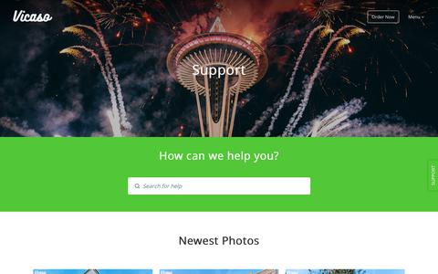Screenshot of Support Page vicaso.com - Vicaso Real Estate Photography: We help you sell/rent faster with great photos, aerial photos, and video. - captured Sept. 22, 2018