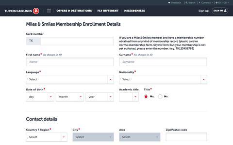 Screenshot of Signup Page turkishairlines.com - Miles&Smiles Application Form | Turkish Airlines ® - captured Sept. 22, 2018