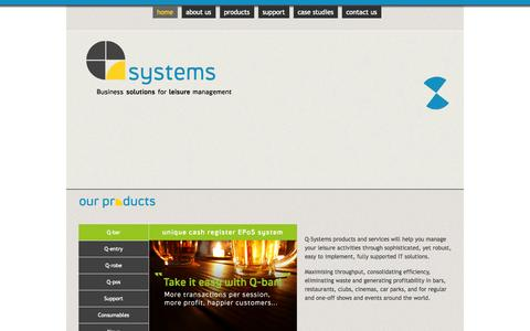 Screenshot of Home Page q-systems.com - Q Systems - Customer Management & Control Systems - captured Oct. 1, 2014