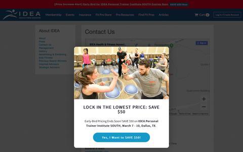 Screenshot of Contact Page ideafit.com - Contact Us - captured Jan. 21, 2019