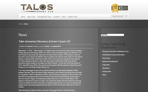Screenshot of Press Page talosenergyllc.com - News | Talos Energy - captured Oct. 9, 2014