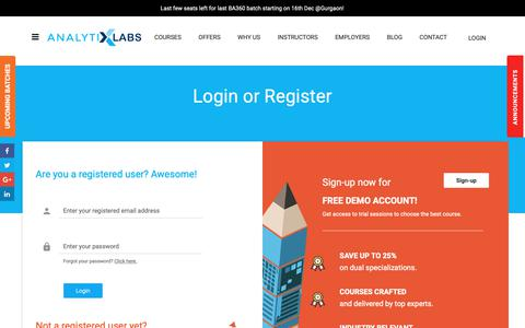 Screenshot of Login Page analytixlabs.co.in - Login - AnalytixLabs - captured Dec. 9, 2018
