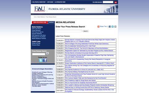 Screenshot of Press Page fau.edu - FAU - Press Release Search - captured Oct. 29, 2014