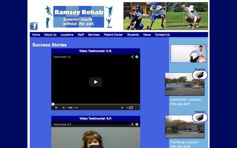 Screenshot of Testimonials Page ramseyrehab.com - Ramsey Rehabilitation Inc. Success Stories | Ramsey Rehabilitation Inc. - captured Oct. 26, 2014
