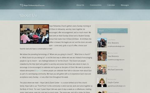 Screenshot of About Page hopefellowshipraleigh.org - About Us | Hope Fellowship - captured Oct. 3, 2014
