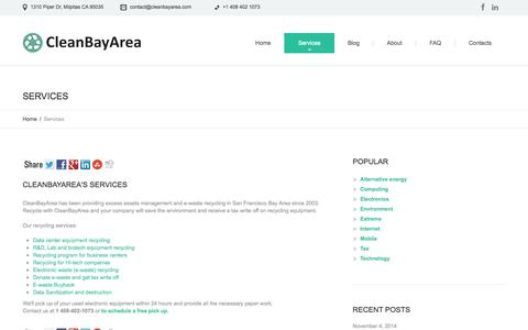 Screenshot of Services Page cleanbayarea.com - Services  |  CleanBayArea – Excess Inventory Management and E-waste Recycling in SF Bay Area - captured Nov. 5, 2014