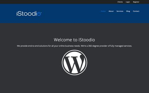 Screenshot of Home Page istoodio.com - iStoodio fully manged hosting, wordpress websites, and Genesis Child themes – Unique by Design - captured Jan. 28, 2015